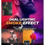 اکشن فتوشاپ نورپردازی دو رنگی با دود Dual Lighting Smoke Effect Photoshop Action