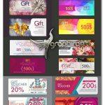 دانلود مجموعه وکتور کارت هدیه و تخفیف Gift Vauchers Vector Set