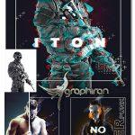 اکشن فتوشاپ ساخت پوستر گلیچ Glitch Poster Maker Photoshop Action