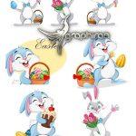 دانلود مجموعه وکتور خرگوش کارتونی فانتزی عید پاک EPS لایه باز