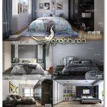 دانلود رایگان 5 صحنه آماده اتاق خواب تری دی مکس Modern Bedrooms Scenes