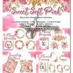 دانلود مجموعه تصاویر PNG گل های صورتی آبرنگی Sweet Soft Pink Flower Watercolor