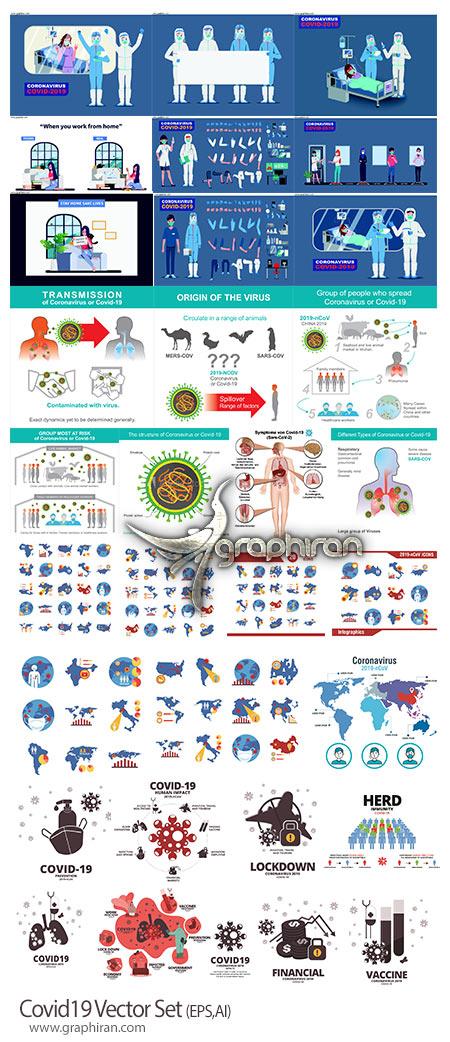 دانلود مجموعه طرح های وکتور اطلاع رسانی ویروس و بیماری کرونا CoVid 19