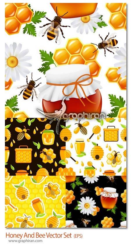 دانلود مجموعه وکتور شانه عسل ظرف و زنبور