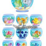 دانلود مجموعه تصاویر وکتور تنگ ماهی Cartoon Aquarium Vector Set