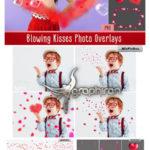 دانلود تصاویر پوششی قلب و حباب قلبی پراکنده Blowing Kisses Photo Overlays