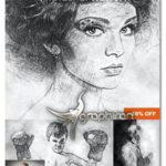 دانلود اکشن فتوشاپ طراحی هنری با گچ Chalk Sketch Photoshop Action
