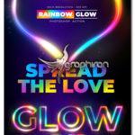 اکشن فتوشاپ ساخت افکت درخشش رنگین کمانی Rainbow Glow Photoshop Action