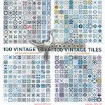 دانلود 400 وکتور پترن موزاییک قدیمی و کاشی کاری Vintage Tiles Patterns Antique Seamless Design