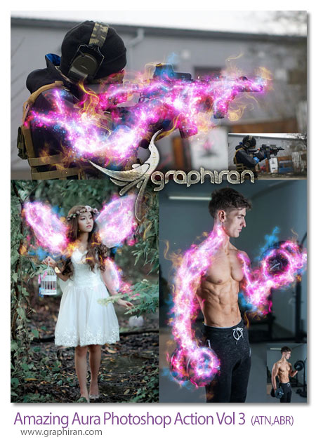 اکشن فتوشاپ افکت تشعشع نور بی نظیر Amazing Aura Photoshop Action Vol 3