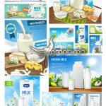 دانلود مجموعه تصاویر تبلیغاتی وکتور لبنیات و شیر Dairy Products Vectors