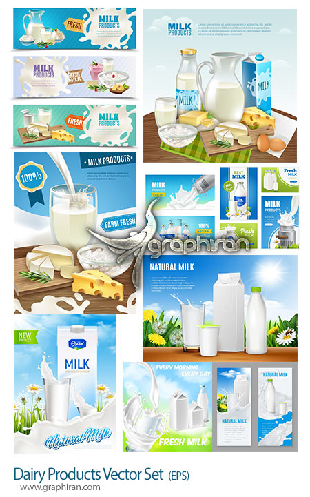 دانلود مجموعه تصاویر تبلیغاتی وکتور لبنیات و شیر