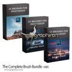 دانلود مجموعه 60+ براش فتوشاپ نور، ذرات، ماه، مه، پرنده و غیره The Complete Brush Bundle
