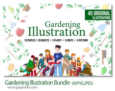 دانلود مجموعه طرح های وکتور باغبانی و وسایل کاشت گیاه