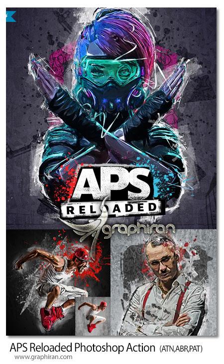 اکشن فتوشاپ افکت عکس گرافیکی حرفه ای APS Reloaded Photoshop Action