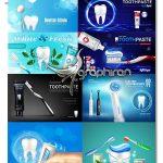 دانلود تصاویر وکتور پوسترهای تبلیغاتی خمیردندان Toothpaste Advertising Vector