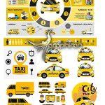 دانلود مجموعه تصاویر وکتور تاکسی تلفنی و سرویس Taxi Vector Set