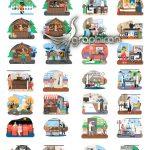 دانلود مجموعه وکتور کارکترهای فلت مردم شهر با مشاغل مختلف