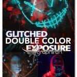 اکشن فتوشاپ ترکیب افکت گلیچ و دابل اکسپوژر Glitched Double Color Exposure PS Action