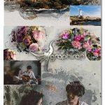 دانلود 2 قالب عکس لایه باز با افکت نقاشی آبرنگ Watercolor Photo Template