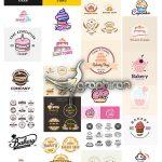 دانلود مجموعه وکتور آرم و لوگو شیرینی فروشی و کیک و بستنی و شکلات