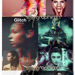 دانلود 5 اکشن فتوشاپ افکت گلیچ و نویز دیجیتال Glitch Photoshop Action Bundle