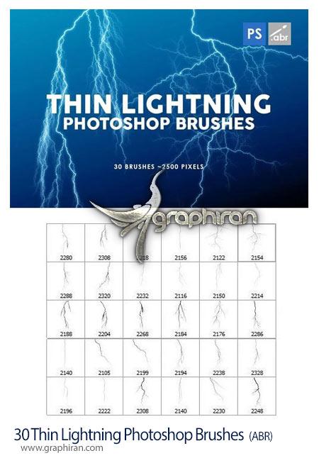 دانلود 30 براش فتوشاپ رعد و برق نازک Thin Lightning Photoshop Brushes