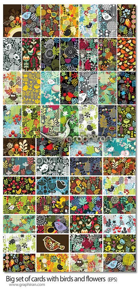 دانلود طرح های وکتور بک گراند فانتزی با گل و پرنده