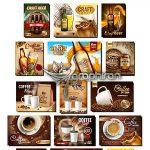 دانلود مجموعه تصاویر وکتور بنر تبلیغاتی محصولات غذایی EPS لایه باز