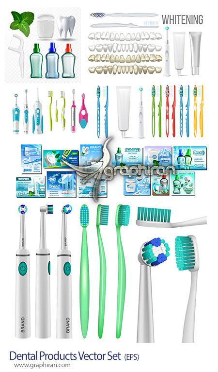 دانلود مجموعه تصاویر وکتور محصولات بهداشت دهان و مسواک و خمیردندان