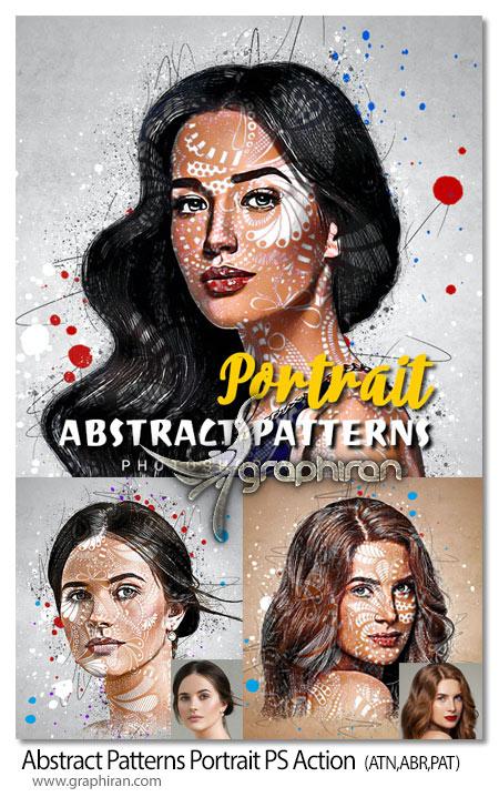 اکشن فتوشاپ پترن های فانتزی روی چهره Abstract Patterns Portrait Photoshop Action