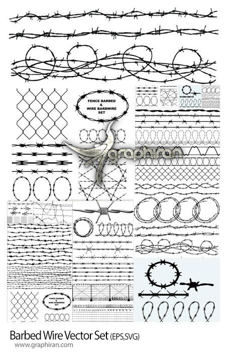 دانلود مجموعه تصاویر وکتور سیم خاردار Barbed Wire Vector Set