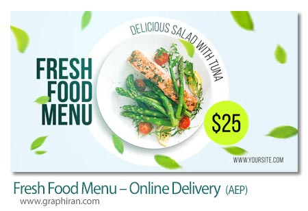 دانلود پروژه افترافکت منوی سفارش غذا آنلاین Fresh Food Menu Online Delivery