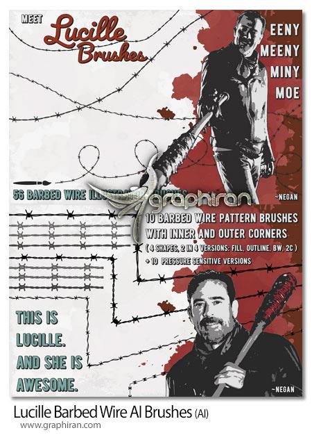 دانلود براش ایلستوریتور سیم خاردار Lucille Barbed Wire AI Brushes