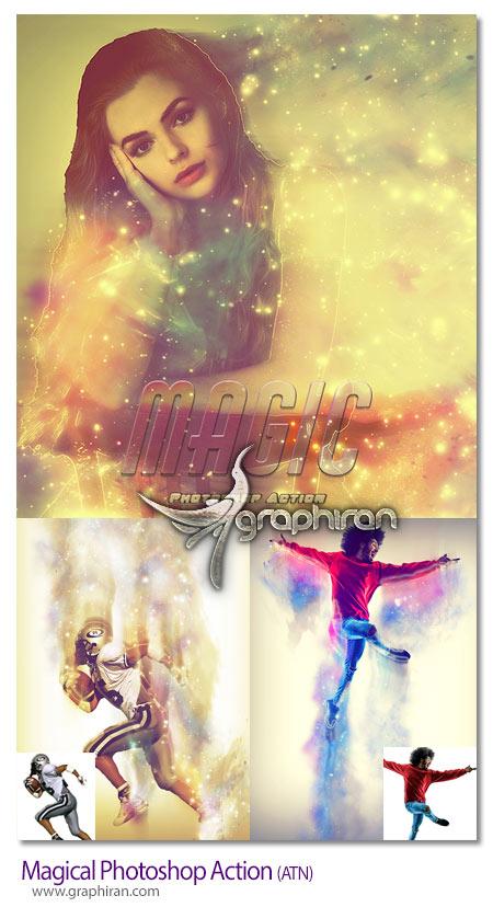 دانلود اکشن فتوشاپ ذرات گرافیکی جادویی Magical Photoshop Action