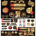 دانلود مجموعه طرح های وکتور لیبل و روبان طلایی و مشکی Gold Badges & Labels Vector Set