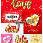 دانلود تصاویر وکتور طرح های عاشقانه روز ولنتاین Valentine's Day illustration Vectors