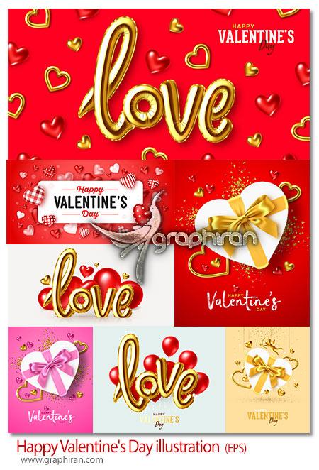 دانلود تصاویر وکتور طرح های عاشقانه روز ولنتاین