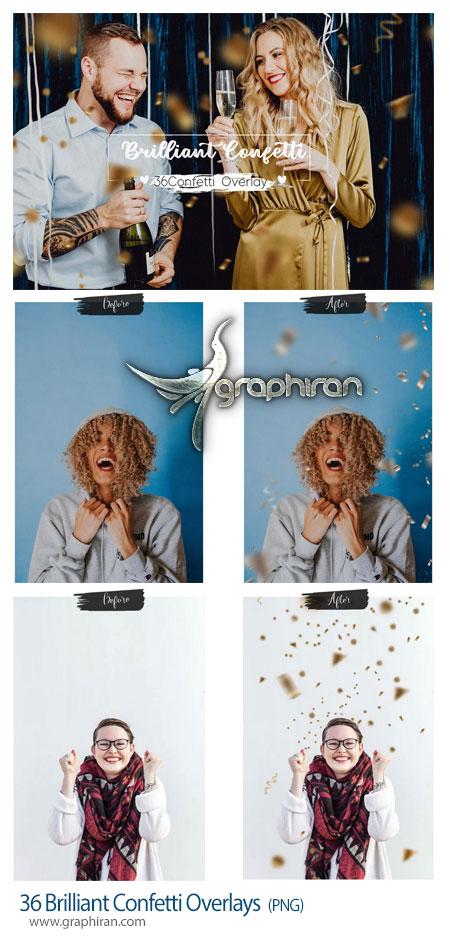 دانلود تصاویر PNG کاغذ رنگی طلایی و نقره ای Brilliant Confetti Overlays