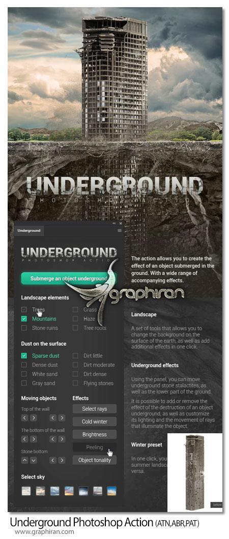 اکشن فتوشاپ ساخت طرح زیرزمین Underground Photoshop Action