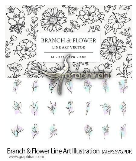 دانلود مجموعه طرح وکتور گل و بوته خطی