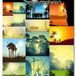 دانلود مجموعه وکتور منظره و طبیعت EPS لایه باز Different Landscape Collection