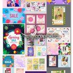 دانلود طرح های وکتور حراجی و فروش بهاری Hand-drawn Spring Sale Vector