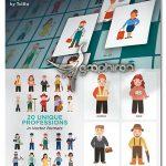 دانلود 20 طرح کاراکتر وکتور شغل های مختلف Profession Character Pack