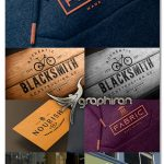دانلود 5 موکاپ لوگو روی پارچه، تابلو مغازه، دیوار، چوب و نامه Logo Mockup Bundle