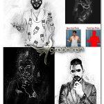 اکشن فتوشاپ نقاشی خطی سیاه و سفید Black & White Sketch PS Action
