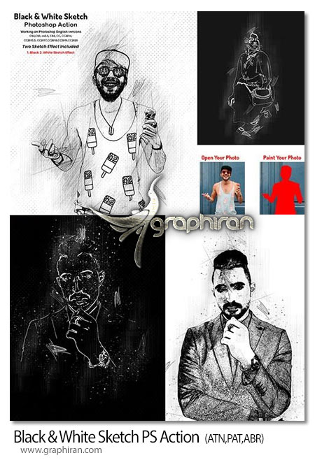 اکشن فتوشاپ نقاشی خطی سیاه و سفید