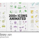 دانلود پروژه افترافکت 200 آیکون فلت انیمیشن Icons Library