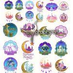 دانلود مجموعه طرح های وکتور آرم و لوگوی ماه رمضان Ramadan Kareem Badges Vector