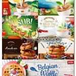 دانلود طرح های وکتور بنر تبلیغاتی سه بعدی مواد غذایی Food 3D Banners Vector